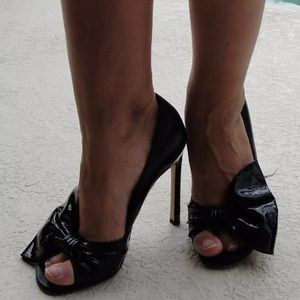 BEBE CLASSY BLACK HIGH HEEL LEATHER PUMPS SHOES 6